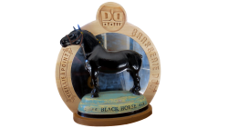 AB Creation - CNC - Plaque derriere un cheval - Biere Black Horse beer - Brasserie Dow - Trois-Rivieres - Quebec